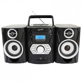 Supersonic SC805 Portable MP3//CD Player With iPod Docking USB//SD//AUX Inputs Cassette Recorder and AM//FM Radio Black